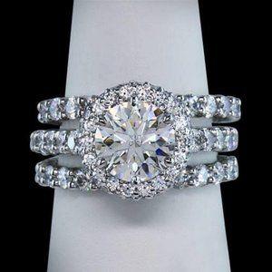 2.76 ct. round diamonds ring 3 row anniversary rin